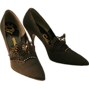 Cinderella Loves Black Vintage Designer Marquise Stiletto Shoes, With Original Box!
