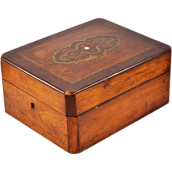 Rare, Exquisite Antique Louis Philippe Style Mahogany and Rosewood Veneer Dresser Box (c. 1830-1848)