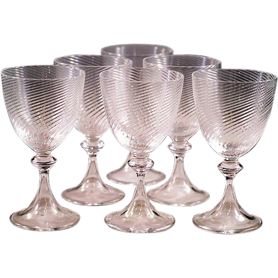Rare Tiffany Crystal Exquisite Acid Etched Signed Set of Six Crystal Cordial Glasses Beautiful!