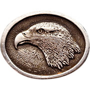 "Rare Vintage ""Pilgrim Pewter"" By Sid Bell American Bald Eagle Belt Buckle"