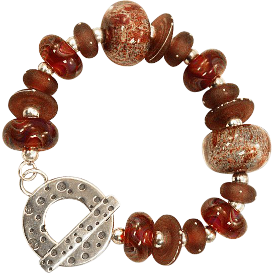 OOAK Davison Spectacular Custom Beads 18K Accented and Lampwork Bead Sterling Bracelet