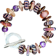 OOAK Davison Custom Lampwork Beads, Sugalite, and Sterling Bracelet