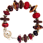 OOAK Davison Art Glass and Custom Beads Sterling Bracelet