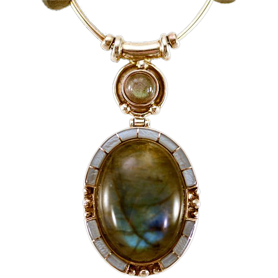 OOAK Davison Luminous Labradorite Necklace with Cabochon Pendant