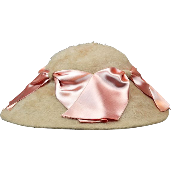 Elegant and Feminine Angora Wool Hat with Pink Ribbons