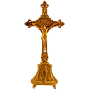 "Beautiful Vintage 11"" Altar Crucifix in Iron with Gold Tone"