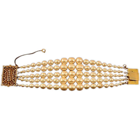 Bold Beautiful Miriam Haskell Signed 5-strand Faux Pearl Bracelet