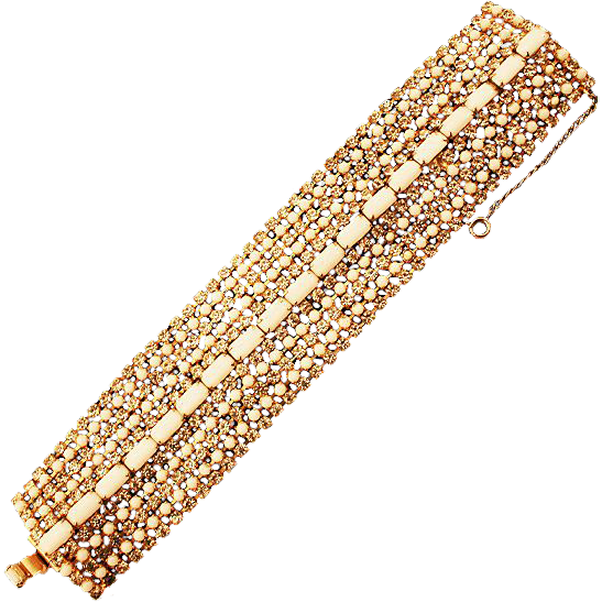 Timeless Wide Milk Glass and Rhinestones Bracelet
