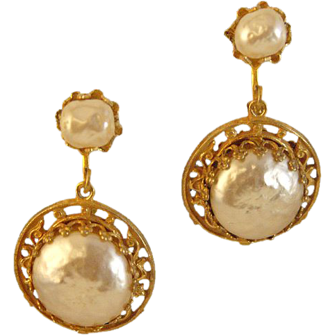 Captivating Miriam Haskell Signed Faux Baroque Pearls Drop Earrings