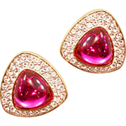 "Sparkling Vintage Rare Swarovski ""S.A.L."" Original Rhinestone Earrings"
