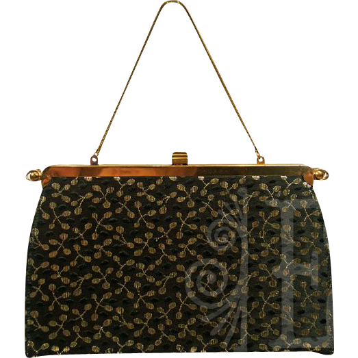 Versatile Reversible Black and Gold Handbag