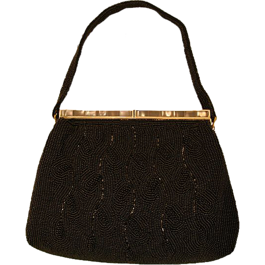 Elegant Walborg Fully Beaded and Inlaid MOP Evening Bag