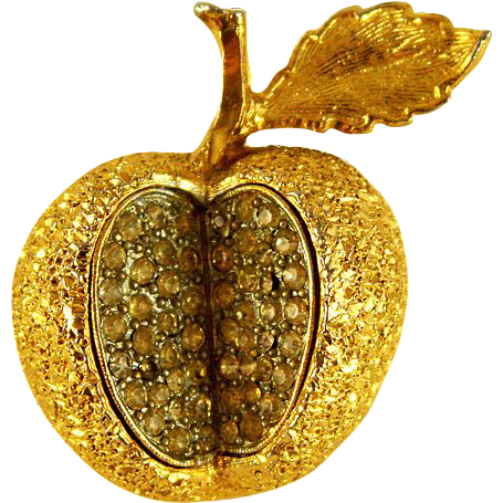 Signed Hattie Carnegie Rhinestone Sparkling Apple Brooch