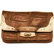 ca 1902 Heavily Hallmarked Alligator and Sterling Card Stamp Case/Wallet