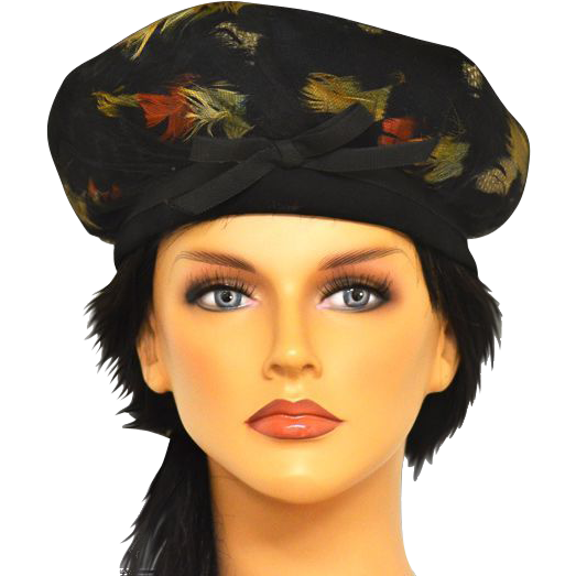 Vintage Under Black Netting and Vibrantly  Colored Feather Turban Hat