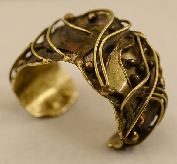 Vintage avant garde hand forged brass abstract cuff