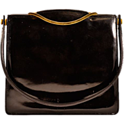 "Classic Beauty Vintage ""Birks France"" Black Patent-Leather Handbag"