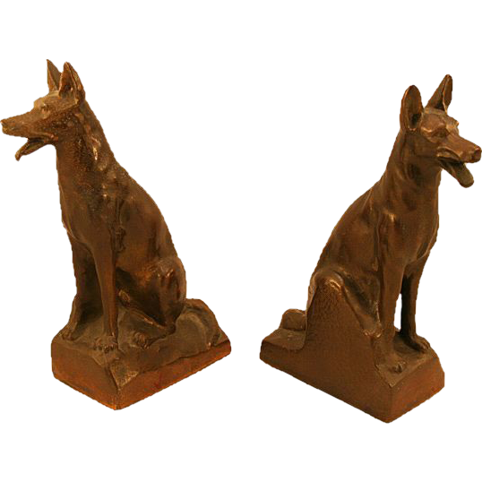 Bronze-Clad Spelter German Shepherd Dog Bookends