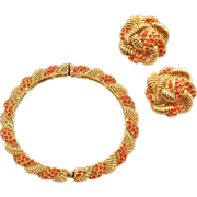 Classic 1960s Hattie Carnegie Bracelet and Earrings Set