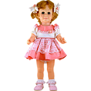 "ca 1962 Rare Canadian Chatty Cathy Doll ""Pinwheel Eyes"" in Darling Pink Outfit with Working Voicebox"