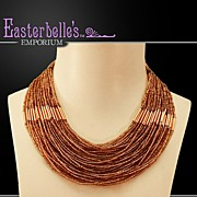 Simply Divine Amber Colored Seed Bead Egyptian-Style Necklace