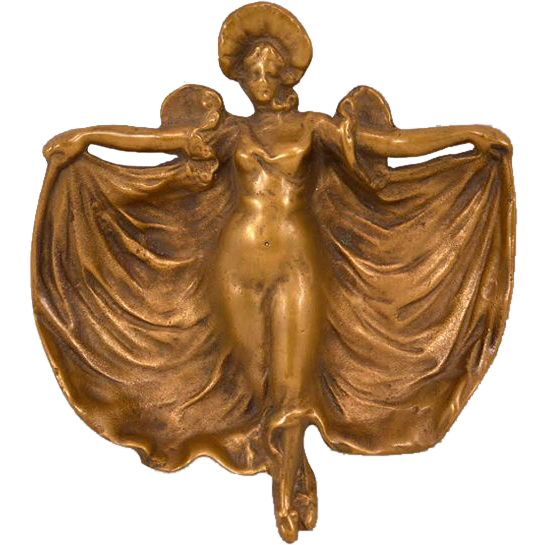 Lovely Nouveau Bronze Flowing Woman Dish