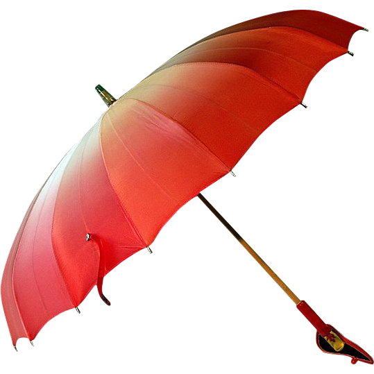 ca 1930's Elegant Parasol Pink/Red Bakelite Handle