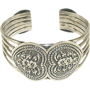 Vintage Sterling Silver Cuff with Forget-Me-Nots and Heart Motif