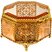 Antique Beveled Glass Octagonal Ormolu Jewel Casket - Gorgeous