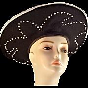 Beautiful, Voluminous Wool Black and White Hat with Rhinestone Detailing