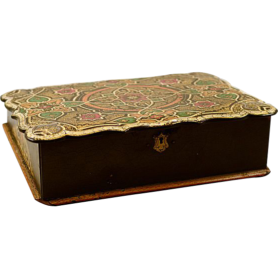 Elegant Antique Black Oriental Laquered Writing Lap Desk with Glass Ink Well and Pen Tray