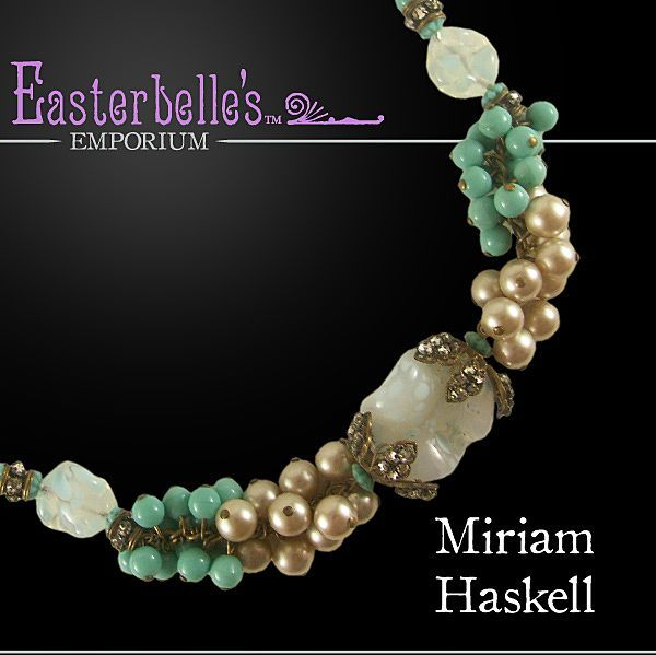Show Stopper Vintage Miriam Haskell Blue-Green Necklace