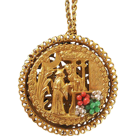 Dramatic Miriam Haskell Gold-Tone Pendant with Oriental Scene