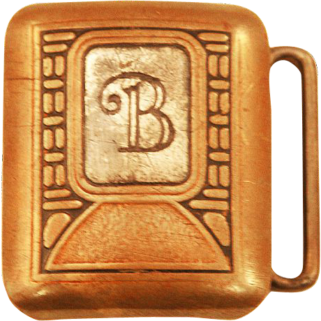 "Hickok Bronze Company ""B"" Belt Buckle - Bronze and Sterling Silver Inset"