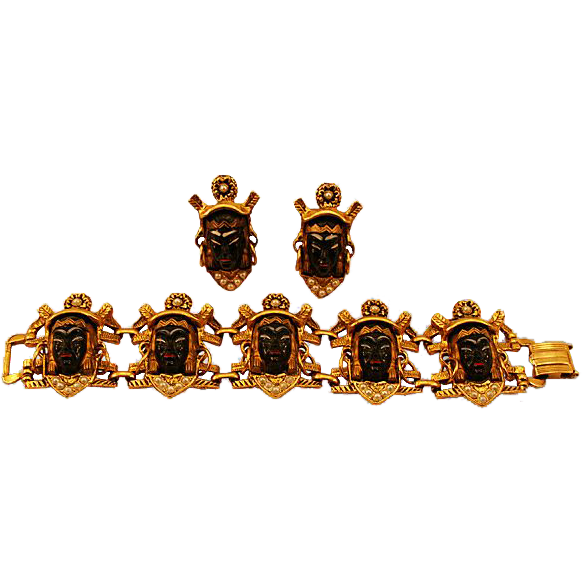 Dramatic Selro/Selini Bracelet and Earrings Blackamoor Demi-parure Set
