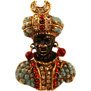 "Unique Coro Blackamoor ""Prince"" Brooch Highly Decorated"