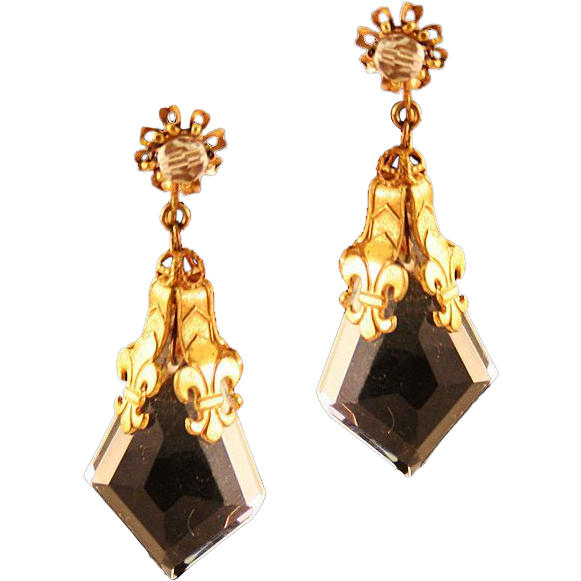 Gorgeous Miriam Haskell Fleur de Lis and Cut Glass Clip Earrings