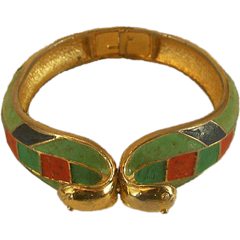Rare Hattie Carnegie Cobra Enameled Clamper Bracelet