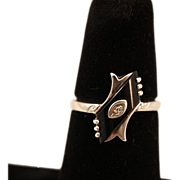 Classic Art Deco 10k Gold, Onyx and Diamond Ring, Size 5 ¾