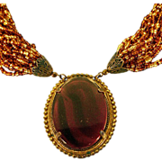 Signed ca 1970's Miriam Haskell Multi Strand Seed Bead Necklace Central Pendant