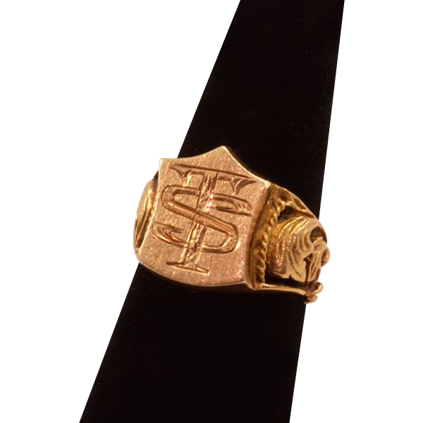 "14K Gold Signet Ring, Very Handsome with ""TS"" Initials"