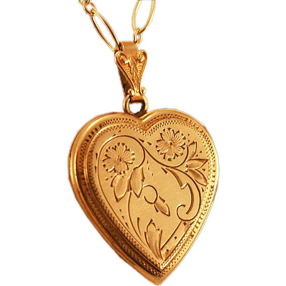 Very Vintage Larger Heart Double Photo Locket 14K Gold Filled and Chased
