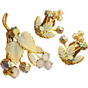 Elegant Austrian Crystal and Enameled Vintage Brooch and Earrings Set