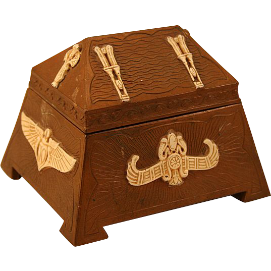 "Treasure for Treasures ""Ivory Bronze"" Egyptian Themed Dresser Box"