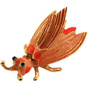 Vintage Hattie Carnegie Shocking Pink Insect Trembler Brooch