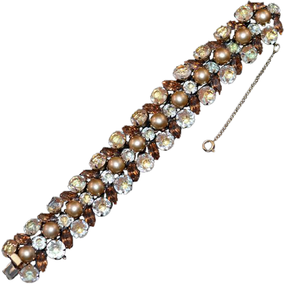 Glam and Gorgeous Kramer Signed Champagne, Amber Rhinestone Faux Pearl Bracelet