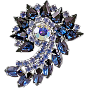 "Gorgeous, Glittering Vintage Rhinestone ""Spiral"" Brooch"