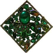 Weiss Big & Beautiful Brooch Rare Square with Rhinestones and Cabochons