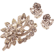Glitzy Vintage Eisenberg Ice Rhinestone Brooch and Earrings Set