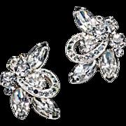 Glitter and Glamour ca 1950' Eisenberg Rhinestone Earrings